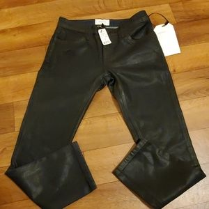 NWT The Cropped Black Coated Straight Leg